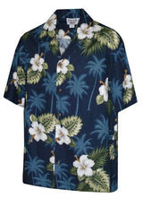 Pacific Legend Men's Hibiscus & Palm Hawaiian Shirt