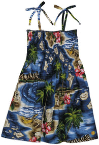 RJC Girls Hibiscus Hawaiian Islands Elastic Tube Dress