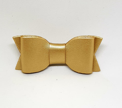 Bow Hair Clip - SMOOTH Leather Gold - Three Bears Kids