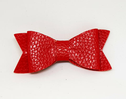 Bow Hair Clip - Leather Red - Three Bears Kids