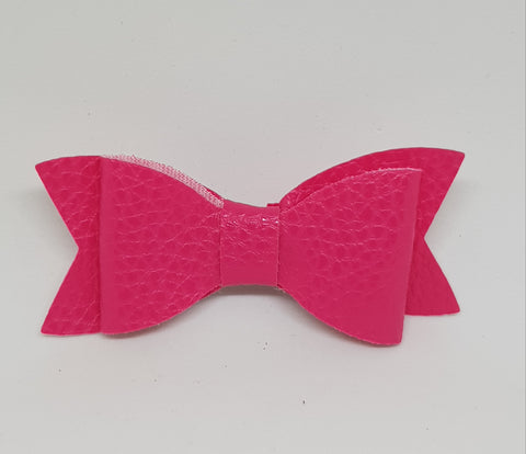 Bow Hair Clip - Leather Pink - Three Bears Kids