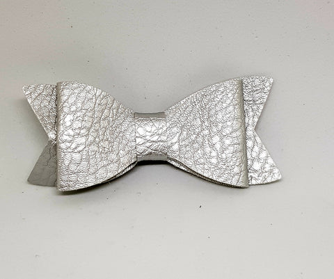 Bow Hair Clip - Leather Silver - Three Bears Kids