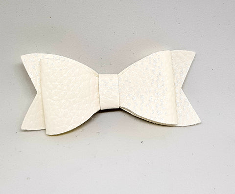 Bow Hair Clip - Leather White - Three Bears Kids