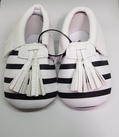 Baby Tassel Mocs - Black And White Striped - Three Bears Kids