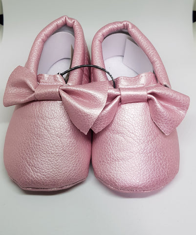 Baby Bow Mocs - All Pink - Three Bears Kids