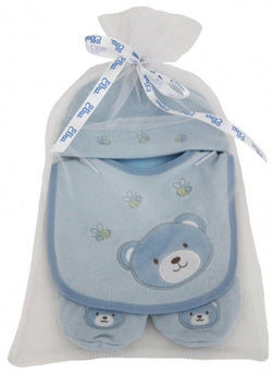Elka Bear Hat, Bib And Booties - Blue