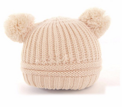 Beanie - Knitted Pom Poms - Cream - Three Bears Kids