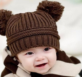 Beanie - Knitted Pom Poms - Brown - Three Bears Kids