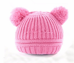 Beanie - Knitted Pom Poms - Pale Pink - Three Bears Kids