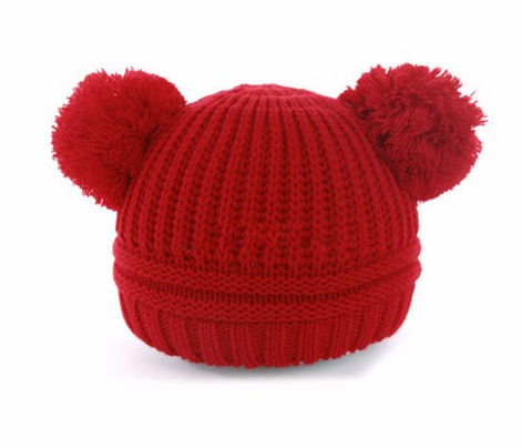 Beanie - Knitted Pom Poms - Red - Three Bears Kids