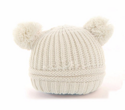 Beanie - Knitted Pom Poms - Off White - Three Bears Kids
