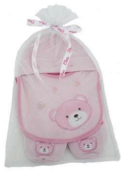 Elka Bear Hat, Bib And Booties - Pink