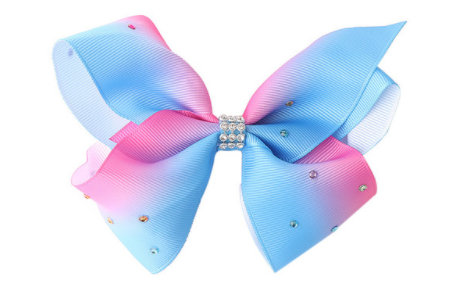 Big Bow 5 inch/12 cm Blue Pink Rainbow