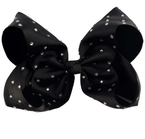 Big Bow 7 inch/18 cm Rhinestone Black - Three Bears Kids