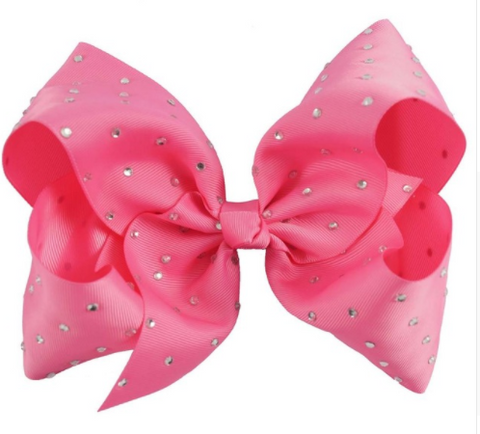Big Bow 7 inch/18 cm Rhinestone Hot Pink - Three Bears Kids
