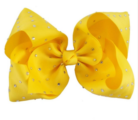 Big Bow 7 inch/18 cm Rhinestone Yellow - Three Bears Kids
