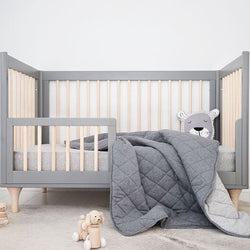 Mister Fly - Charcoal/Grey REVERSIBLE Cot Quilt