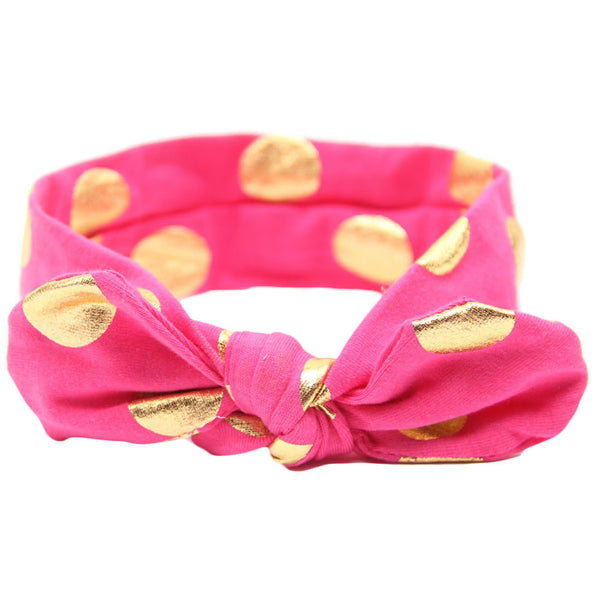 Knot Headband with Gold Dot - Hot Pink