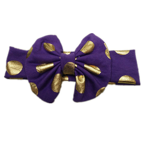 Bow Headband with Gold Dot - Purple - Three Bears Kids
