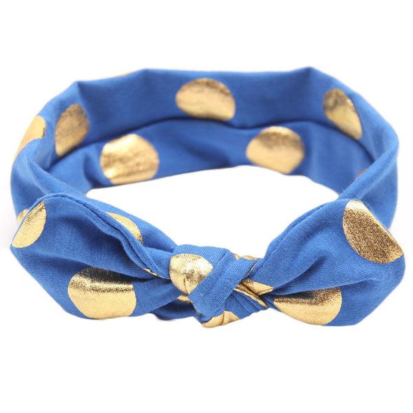 Knot Headband with Gold Dot - Blue