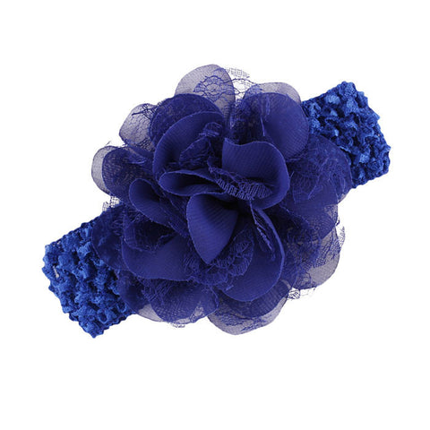 Lace Flower Headband - Royal Blue - Three Bears Kids