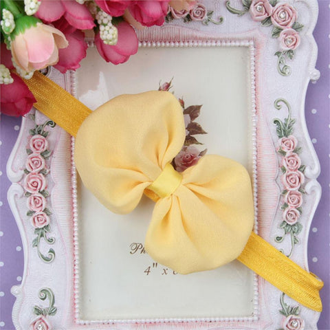 Chiffon Bow Headband - Yellow - Three Bears Kids
