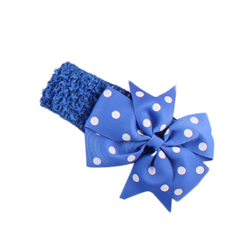 Dot Bow Headband - ROYAL Blue - Three Bears Kids