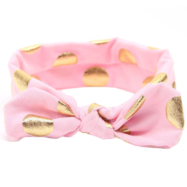 Knot Headband with Gold Dot - Pink