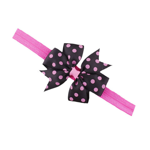 Dot Bow Thin Headband - Pink And Black - Three Bears Kids