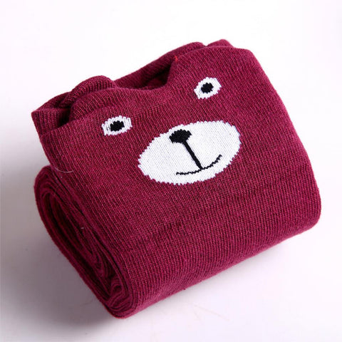 Socks - Burgandy Bear Knee Hi - Three Bears Kids