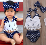 Navy Anchor 3 Piece Set - with Bow - Three Bears Kids