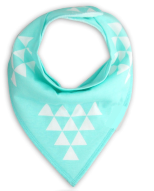 Bandana Bib - Mint With Triangles - Three Bears Kids