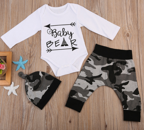 Baby Bear Romper 3 Piece Set With Beanie