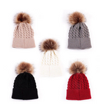Beanie - Thick Cable With Pom Pom -  Cream - Three Bears Kids