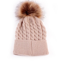 Beanie - Thick Cable With Pom Pom -  Latte - Three Bears Kids