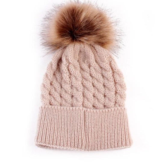 Beanie - Thick Cable With Pom Pom -  Latte