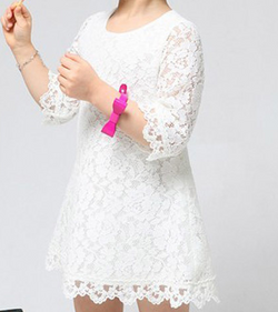 Bianca Lace Mini Dress - White - Three Bears Kids