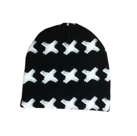 Beanie - Black  And White Crosses - Three Bears Kids