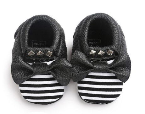 Baby Bow Mocs - Black Bow - Three Bears Kids