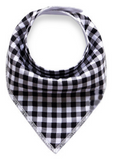 Bandana Bib - Black And White Checks - Three Bears Kids