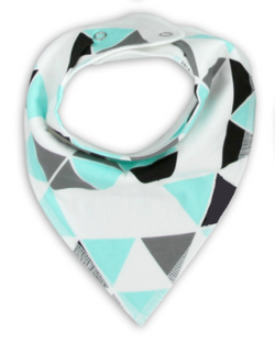 Bandana Bib - White With Coloured Triangles
