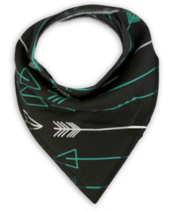 Bandana Bib - Black With Arrows