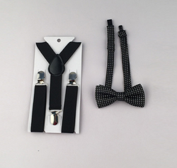 Suspenders And Spotted Bow Tie - Black - Three Bears Kids