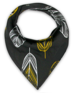 Bandana Bib - Black Feathers