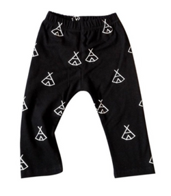Black Tee Pee Harem Pants - Three Bears Kids