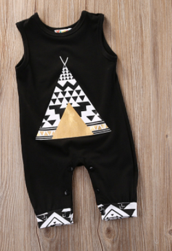 Black Tee Pee Romper - Three Bears Kids