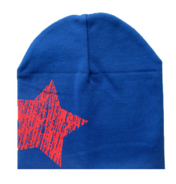 Beanie - Blue And Red Star - Three Bears Kids