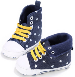 Baby Star Booties - Denim Blue - Three Bears Kids