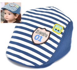 Blue Striped Beret Cap - Three Bears Kids
