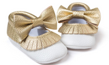 Baby Bow Fringe Mocs - Gold - Three Bears Kids